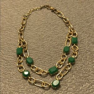 Double layer Green Stone Statement Necklace